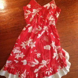 Red and White Hibiscus Ruffled Sundress